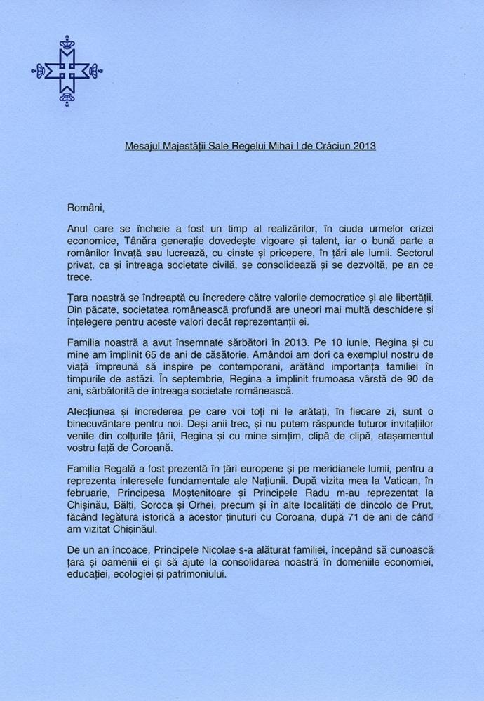Mesajul Majestatii Sale Regelui Mihai I de Craciun (2013) (2/3)